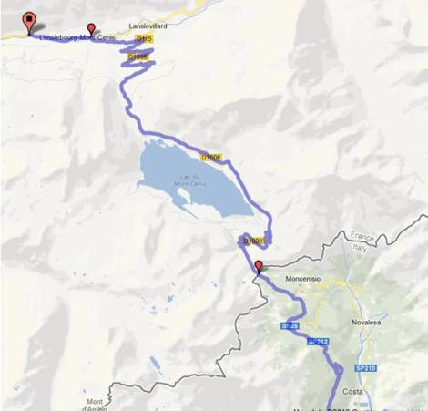 Map of the Col du Mont Cenis