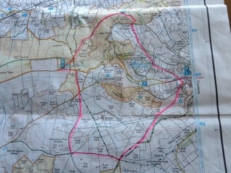 OS Map of our route pennines peak district castleton