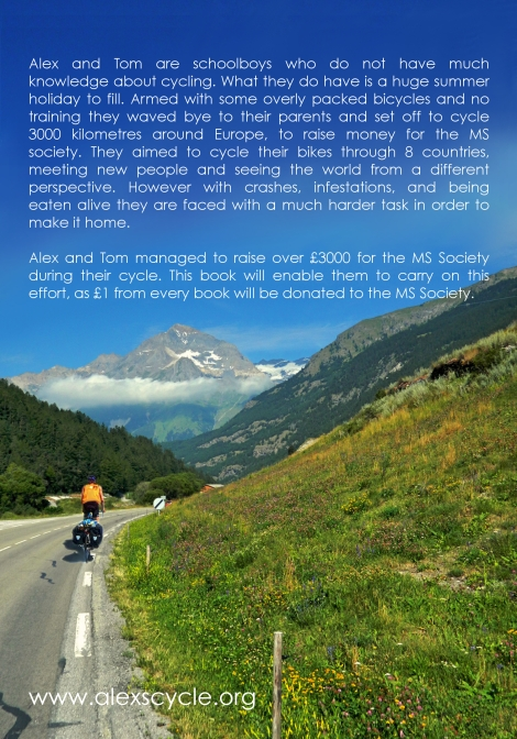 The back cover of The Boys Who Cycled Europe
