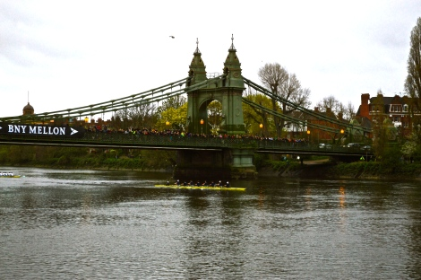 The Isis/Goldie crews coming under Hammersmith Bridge with Oxford way out in front