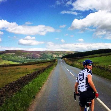 Enjoying the amazing weather on the bike.